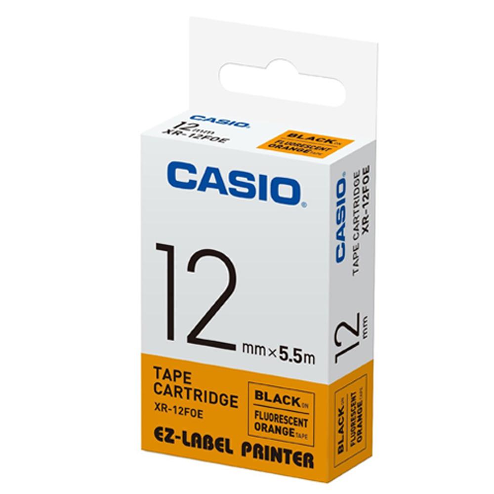 CASIO  標籤機專用特殊色帶-12mm(瑩光橘底黑字)XR-12FOE1