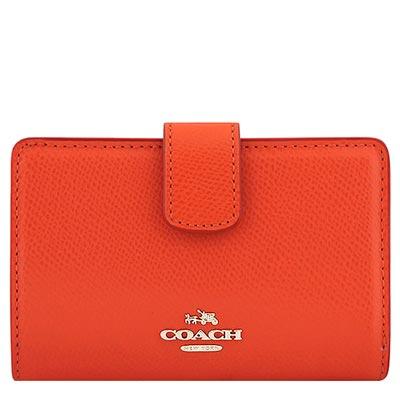 COACH-橘紅色馬車防刮皮革壓扣中夾