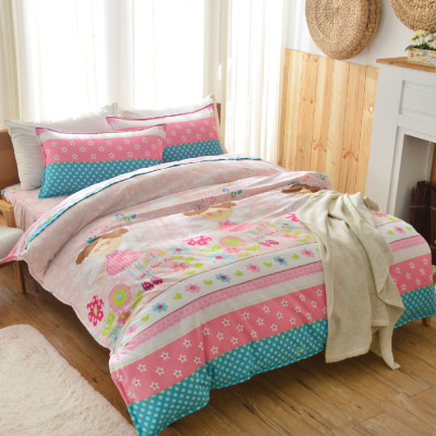 Goelia 可愛蘿莉 單人 活性印染超細纖 全鋪棉床包兩用被三件組