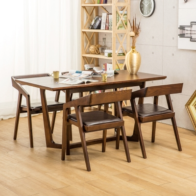 Jiachu 佳櫥世界-Gill吉兒實木一桌四椅/二色-寬150x深80x高76公分