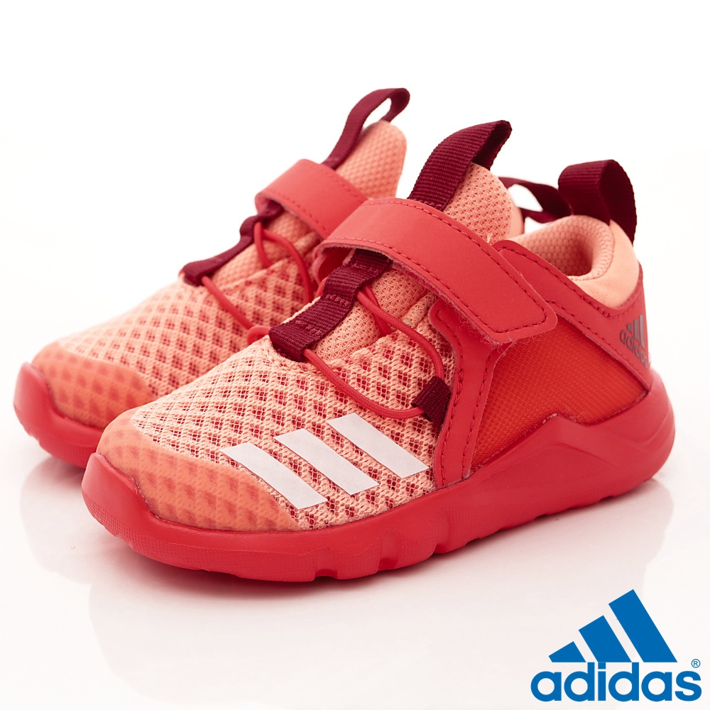 adidas童鞋輕量透氣慢跑款BZE492紅寶寶段