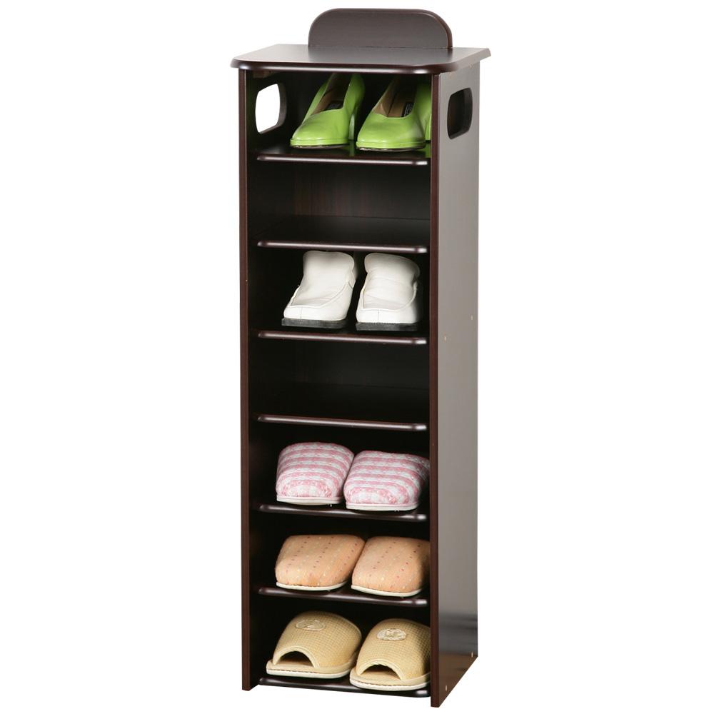Homelike 新歐風七層置物鞋櫃-胡桃色-DIY