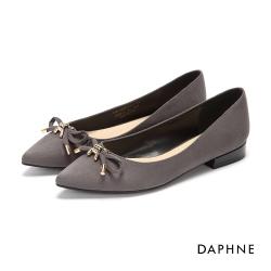 達芙妮DAPHNE 平底鞋-立體蝴蝶結絨布尖頭平底鞋-灰