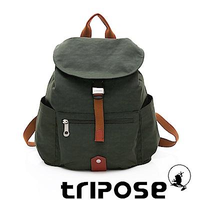 tripose MEMENTO系列微皺尼龍輕量防潑水後背包-小 暗雲衫綠