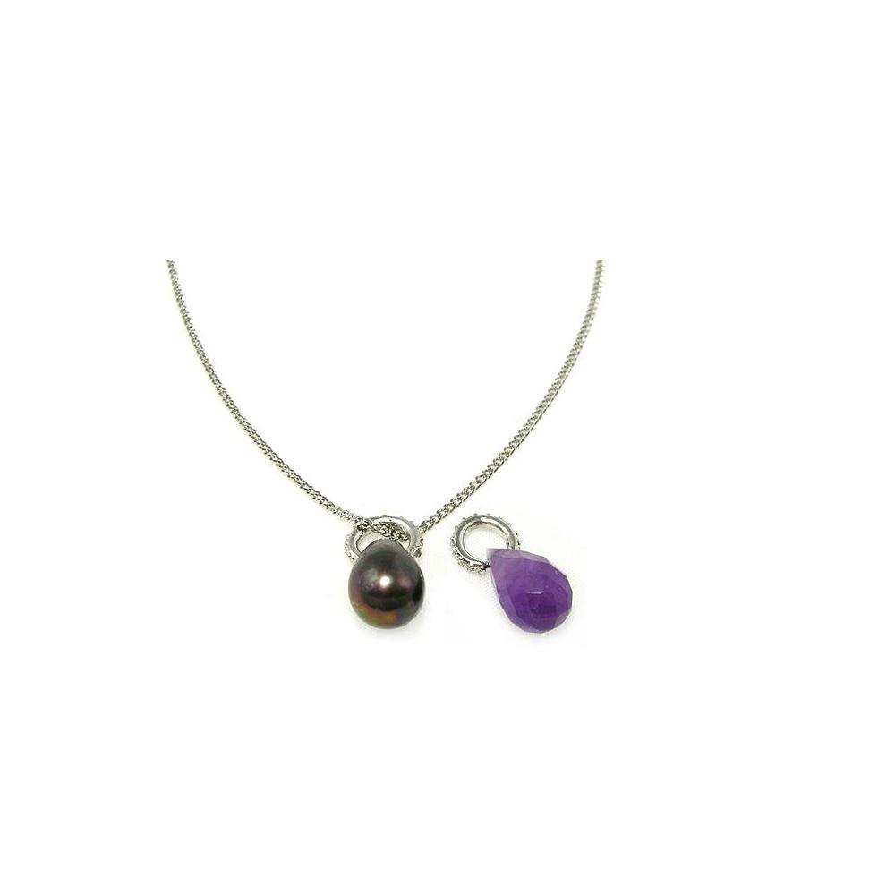 MONET 粉紫典雅珠貝水鑽項鍊禮盒組