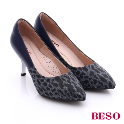 BESO 都會摩登女郎 異材質雙色感拼接高跟鞋 藍色