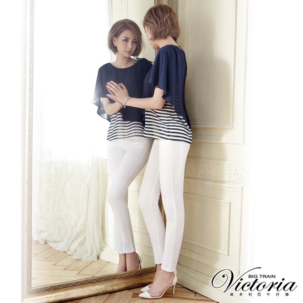 Victoria 中腰蕾絲提花窄管九分褲-女-白