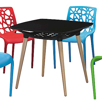 H&D 德尼亞黑色造型桌 (寬80X深80X高72cm)