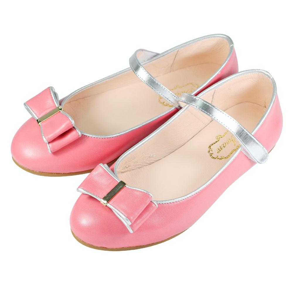 Swan天鵝童鞋-雙層蝴蝶結簡約金釦娃娃鞋 8584-粉