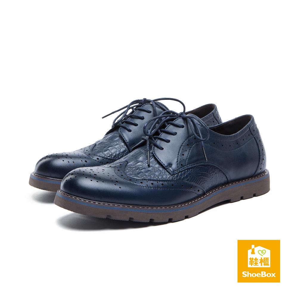 達芙妮DAPHNE ShoeBox系列-男鞋-休閒鞋-真皮綁帶鱷魚紋休閒鞋-深藍