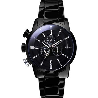 Relax Time 霸氣再現左錶冠計時腕錶-黑/45mm