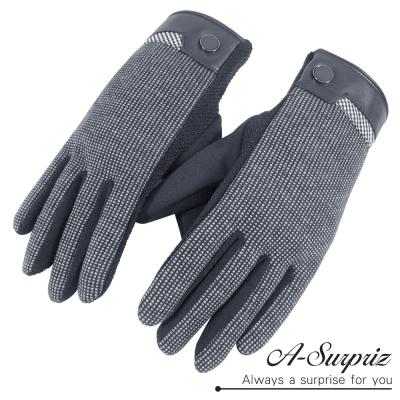 A-Surpriz-男仕細格紋防滑顆粒觸控手套-灰