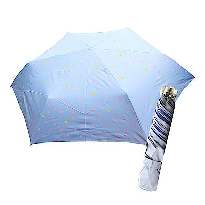 舒亦媚-抗UV防曬三折晴雨傘(閃亮星星-藍底粉星)