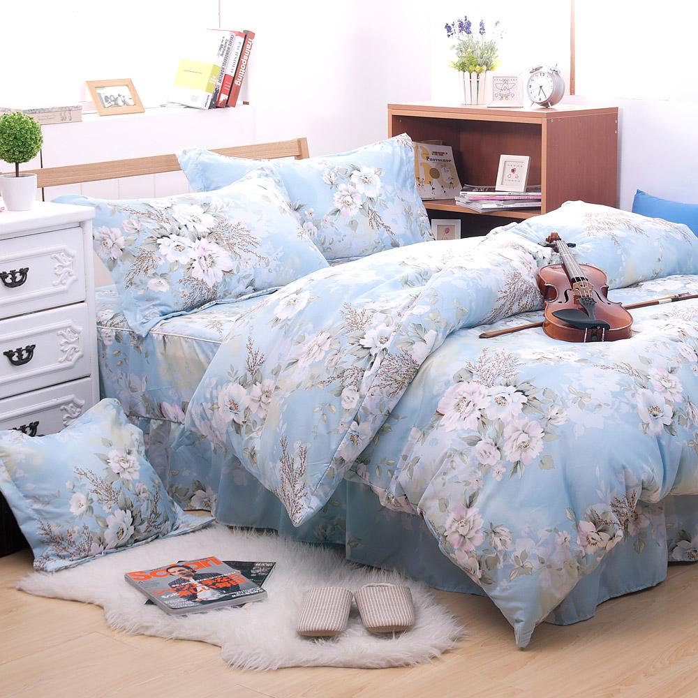 Saebi-Rer-清雅白玫 台製高級活性柔絲絨雙人六件式床罩組