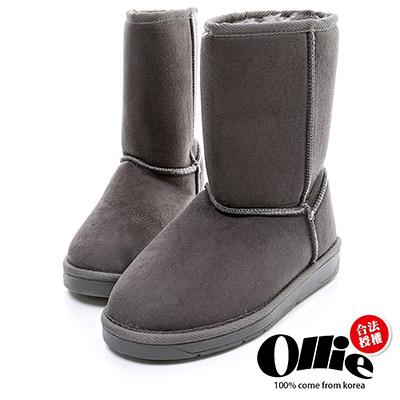 Ollie韓國空運-正韓製經典款布標增高中筒雪靴-灰