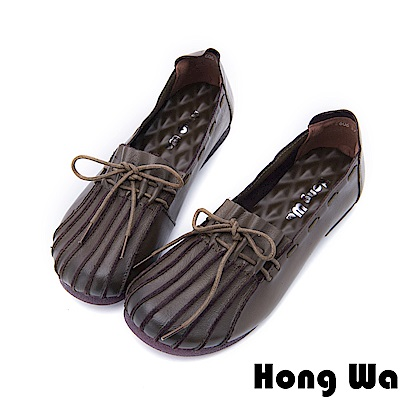 Hong Wa - 氣質牛皮貝殼頭莫卡辛便鞋 - 卡其