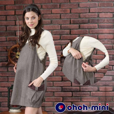 ohoh-mini 孕婦裝 氣質百搭孕哺背心洋裝-咖啡色