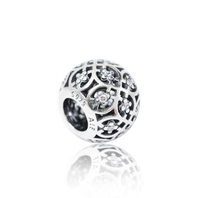 Pandora 潘朵拉 圓形鏤空花紋鋯石 純銀墜飾 串珠