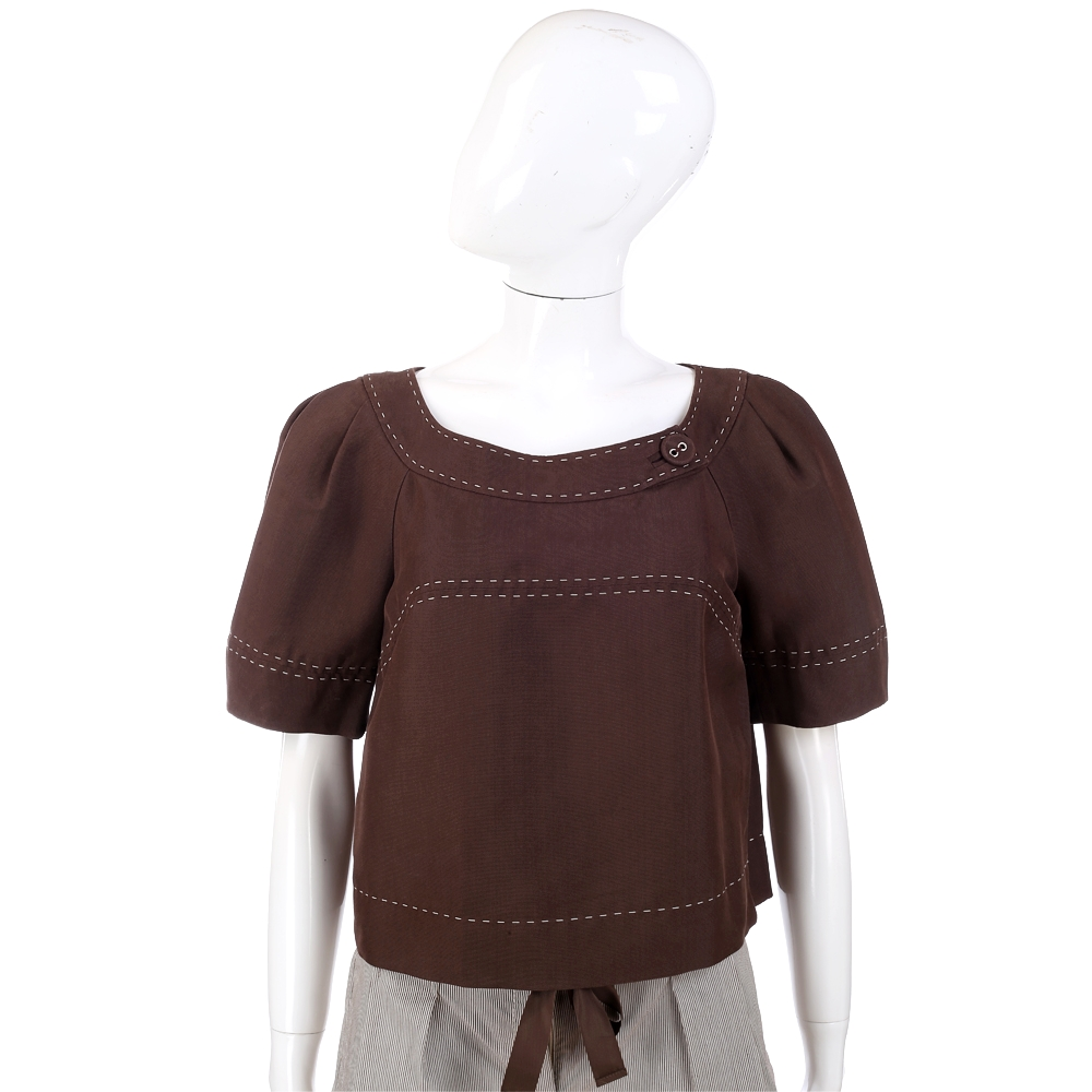 ALBERTA FERRETTI  咖啡色短袖上衣