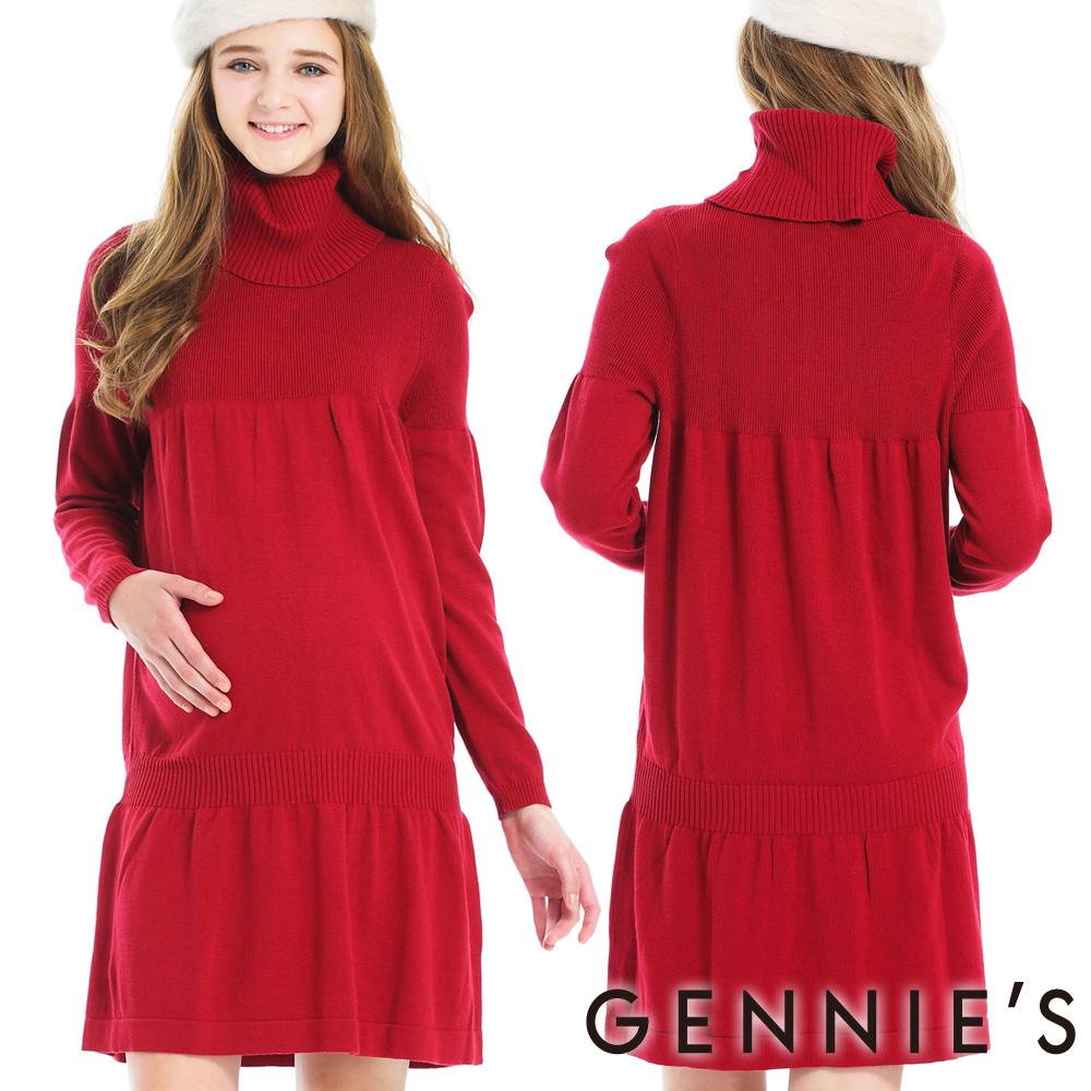 Gennies奇妮-上城女孩翻領針織洋裝(GS403)-紅M