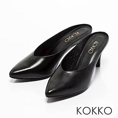 KOKKO -瀟灑隨性真皮高跟穆勒鞋-優雅黑