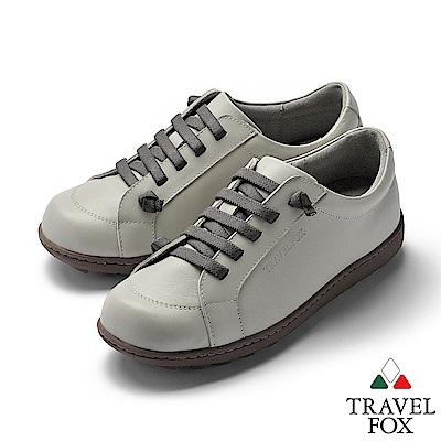 TRAVEL FOX(女) 乖乖的 超軟牛皮免綁帶舒適休閒鞋 - ?柔灰