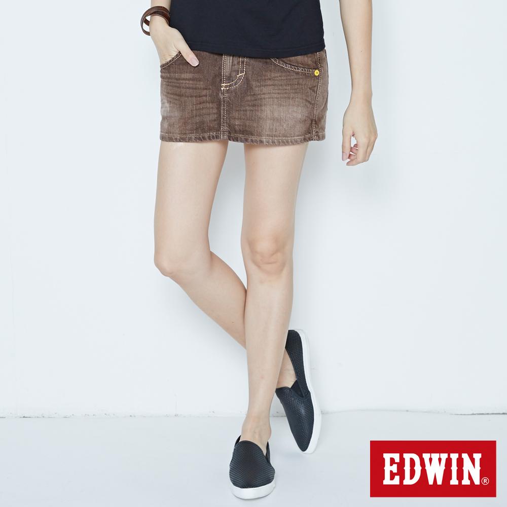 EDWIN 迷你俏皮 MISS BT503休閒短裙-女-褐色