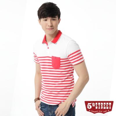 5th-STREET-POLO衫-美式搶眼條紋POLO衫-男-紅色