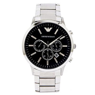 ARMANI   Sportivo  極黑霸氣男性手錶(AR2460)-黑面x銀/46mm