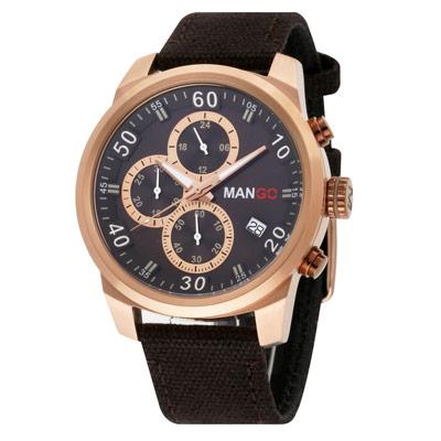 MANGO HOMME 三眼中性時尚不鏽鋼時尚腕錶-咖啡/45mm