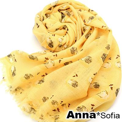 AnnaSofia-舞漾天鵝-薄款純羊毛圍巾-黃系