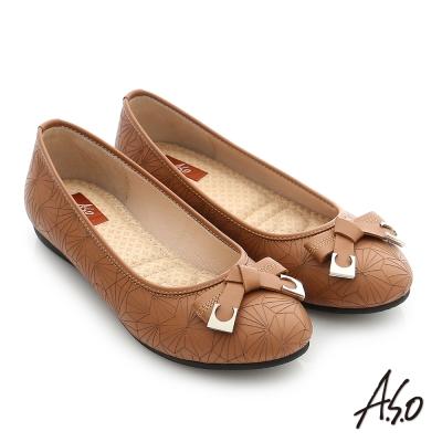 A.S.O 彈力舒芙 真皮蝴蝶結飾釦奈米平底鞋 茶色