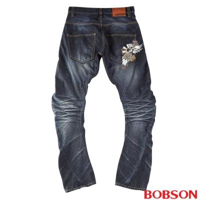 【BOBSON】男款翻轉系列刺繡牛仔褲(藍52)