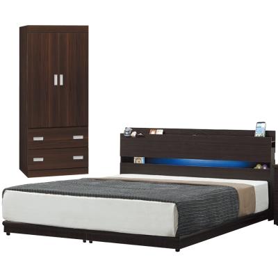 臥室房間組合3件組-雙人5尺-米蘭達胡桃色-品家居