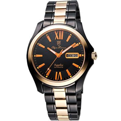 Olympianus 時尚羅馬機械腕錶-黑x玫塊金框/40mm