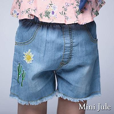 Mini Jule 童裝-短褲 仙人掌刺繡彈性短褲(藍)