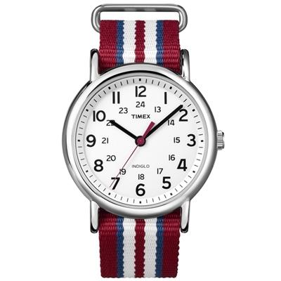 TIMEX 經典復刻冷光Weekender系列-白/紅藍白-38mm