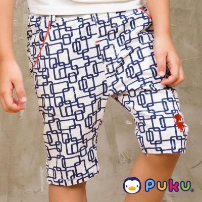 PUKU藍色企鵝 幾何圖騰印花鬆緊短褲