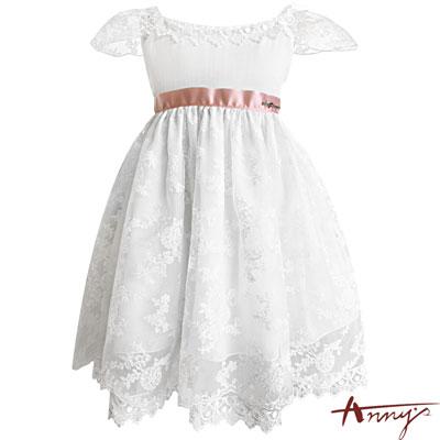 Annys仙女系精緻手工透紗蕾絲緞帶禮服*7104白