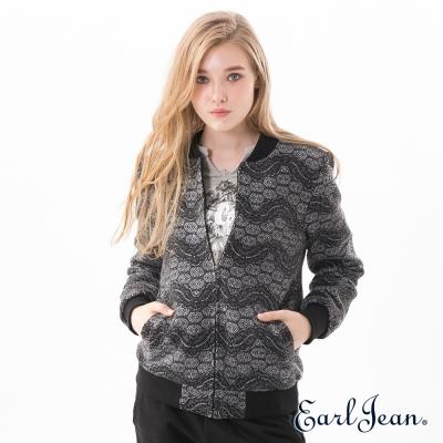 Earl Jean 蕾絲棒球外套-黑灰色-女