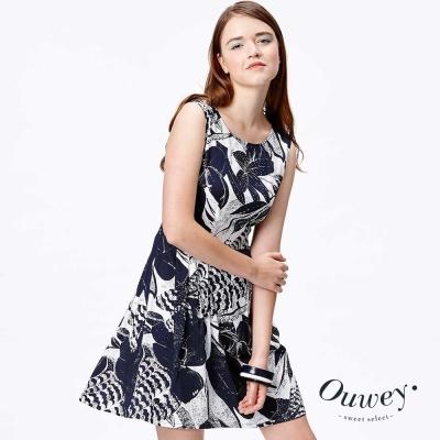 OUWEY歐薇 渡假風舒適洋裝(藍)