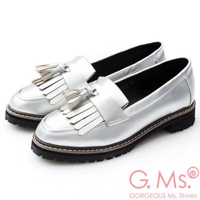 G.Ms. 流蘇穗飾樂福紳士平底鞋-銀色