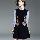 a la mode 艾拉摩兒 藍白條紋喇叭袖花朵刺繡假兩件洋裝(S-2XL)