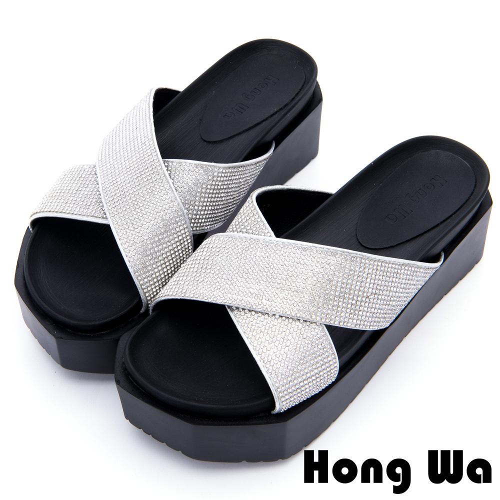 Hong Wa - 簡約流行金屬交叉帶拖鞋 - 銀