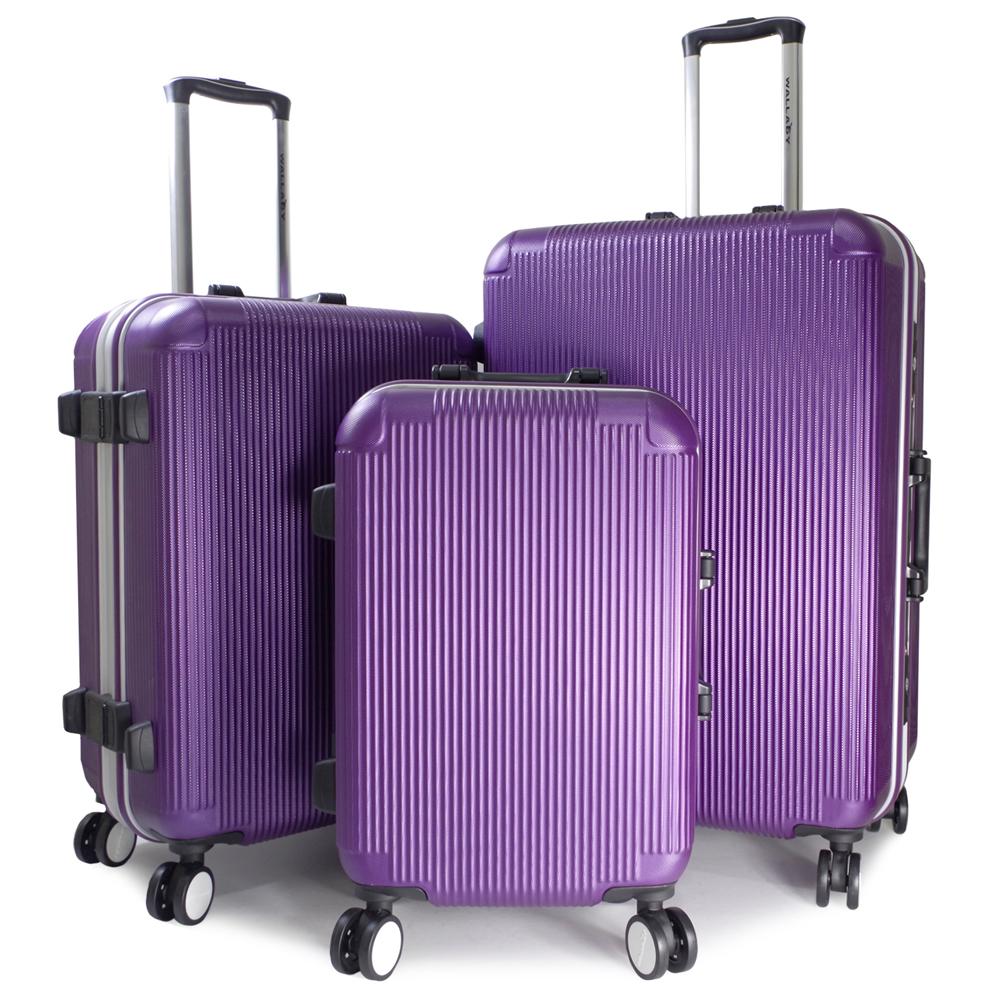 【WALLABY】20+24+28吋直條紋ABS鋁框行李箱/魅力紫(HTX-1503-20