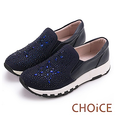 CHOiCE 華麗運動風 牛皮絨布星星水鑽厚底休閒鞋-藍色
