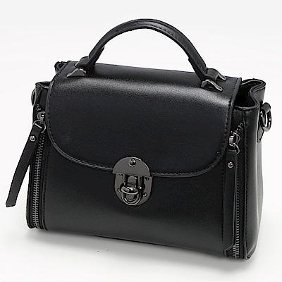 ANNA DOLLY 流蘇拉鍊造型兩用提包 經典黑
