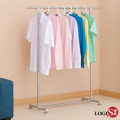 LOGIS-日系無印風單桿吊衣架 不鏽鋼掛衣架 晾衣架 曬衣架