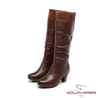 CUMAR柔美軍裝風-靴口異材質抓皺防水台粗跟長靴-咖啡