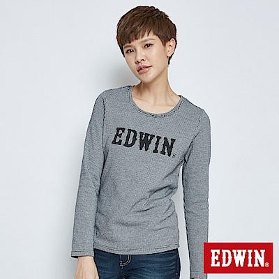 EDWIN 千鳥格LOGO長袖T恤-女-黑色